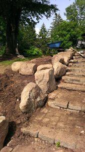 huntington valley boulder wall and steps